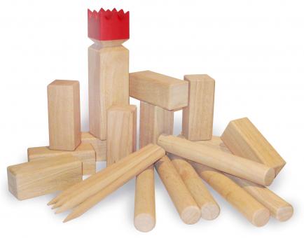 Kubb Spiel Gummibaum mit roter Krone