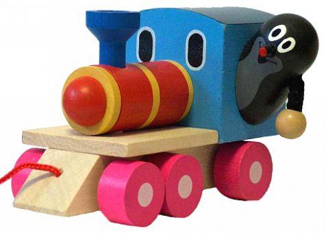 Holz-Eisenbahn mit dem kleinen Maulwurf