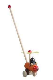 Holz-Schiebespielzeug der kleine Maulwurf im Hubschrauber