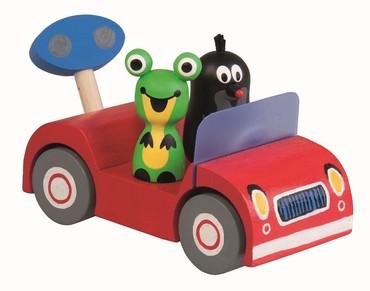 Holzauto mit dem kleinen Maulwurf